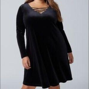 Lane Bryant velvet swing dress